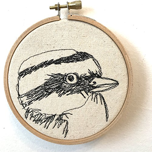 Great Kiskadee Freehand Machine Stitched Portrait by jennyjen42