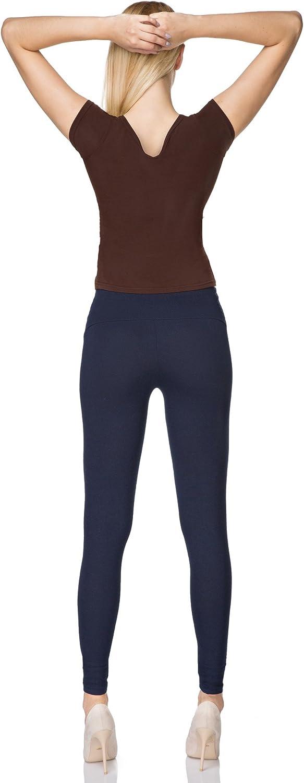 Grandes Tailles FUTURO FASHION Taille Haute Legging Long pour Femme Coton Doux