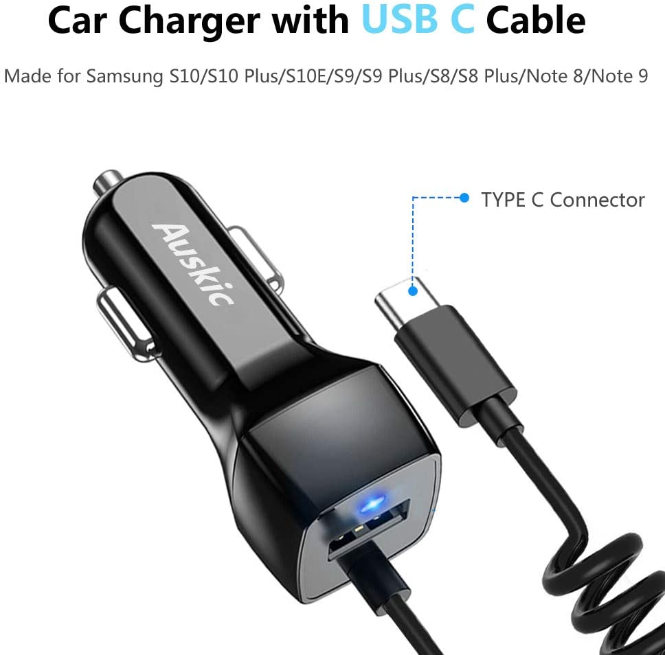 Google Pixel LG G6 // G5 Compatible for Samsung Galaxy S10 S10+ S10E USB Type C Car Charger Carhope Ultra Rapid Retractable Dual-Port Charger Adapter USB C Cable for Samsung S9 S8 S9+ Note 8 Note 9