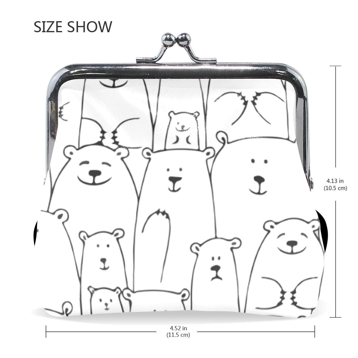 Polar Bear Family Face Coin Purse Buckle Vintage PU Pouch Kiss-lock Wallet for Women Girl