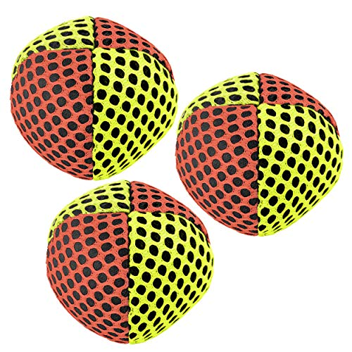 Speevers Xballs Juggling Balls Professional Set of 3 Fresh Design - 10 Beautiful Colors Available - 2 Layers of Net Carry Case - Choice of The World Champions! 120g (Orange - Yellow) - Led Juggling Balls