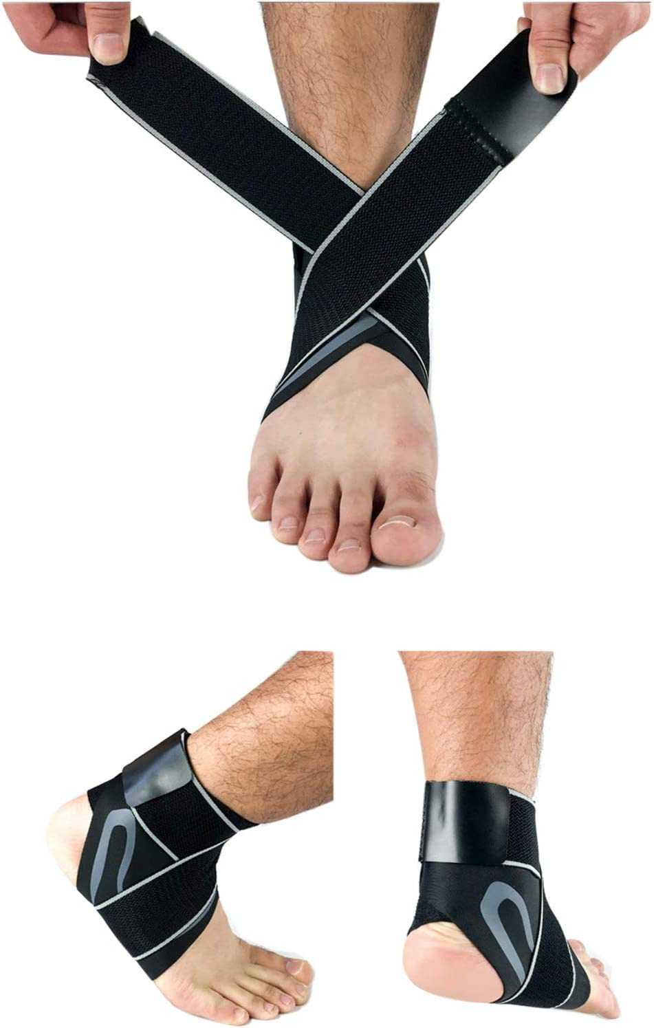 Ankle Brace Adjustable Ankle Stabilizer Compression Brace for Arthritis Pain Relief Sprains Sports Injurie and Recovery Breathable Pair Topcloud Ankle Support