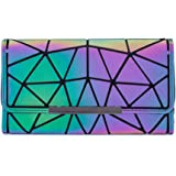 Women Wallets, Luminous Geometric Long Purse Holographic Reflective Money Clip Credit Card Clutch by LOYOMA