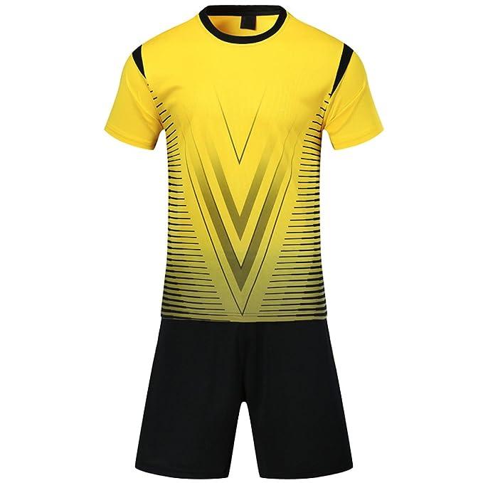 KINDOYO Traje de fútbol de los Hombres de Verano Ropa Deportiva Uniformes Equipo de Entrenamiento de Manga Corta Trajes de Entrenamiento para niños