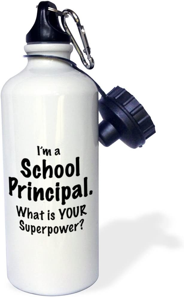 Multicolor 3dRose wb/_193261/_1Im a school principal what is your superpower Black Sports Water Bottle 21 oz