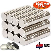 Neodymium magnets, 30 pack of Strong heavy duty refrigerator Rare earth magnets, Grade N52 Magnetic Circular Disk 10x3 mm, Perfect for Fridge, Pin Board, White board or Picture magnet, Force: 2.5kg
