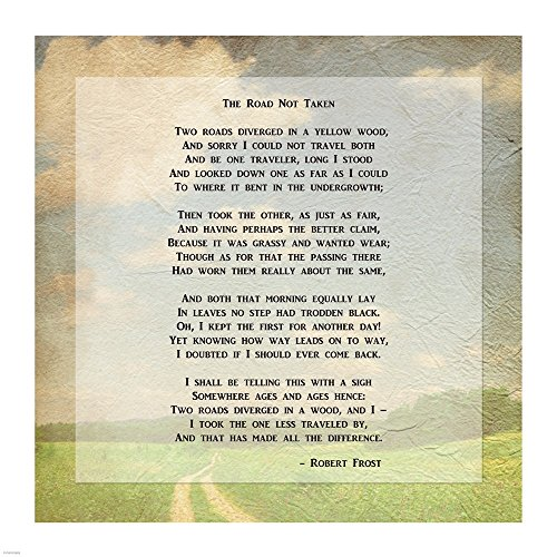 Robert Frost Road Less Traveled Poem Art Print, 16 x 16 inches