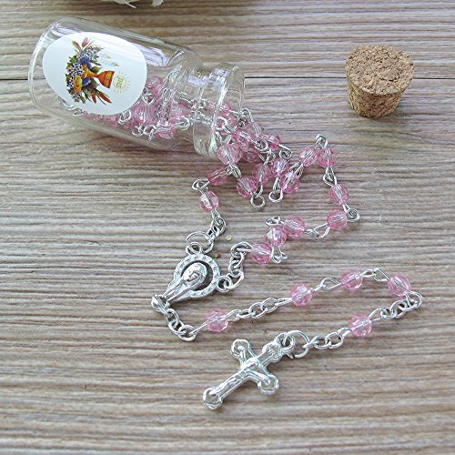 (First Communion Rosary Favor Pink (12) PCS - 5 Decdes/ Recuerdos para Primera Comunion)