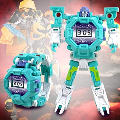 Clearance Sale!DEESEE(TM) Electronic Deformation Watch Children Creative Manual Transformation Robot Toys (Blue): Beauty