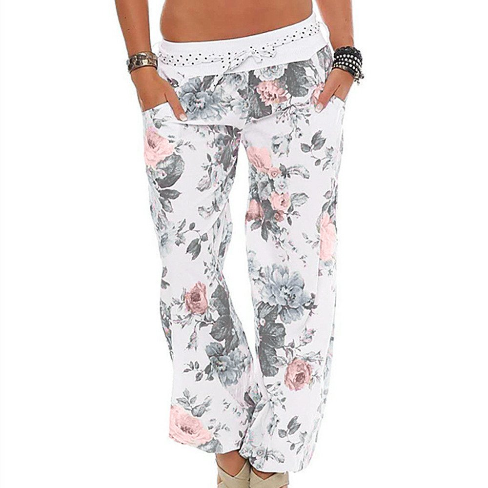 UONQD Women Ladies Floral Trousers Long Pants Baggy Leggings (XXXXX-Large,White)
