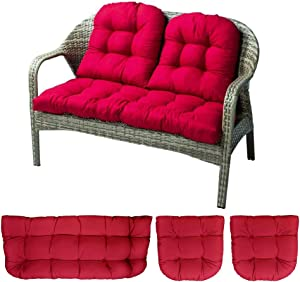 "Indoor Outdoor 3 Piece Bench Cushion Set, 43"" Wicker Settee Cushion with 2 Backrests Patio Wicker Seat Cushions Loveseat Recliner Cushions (Rose)"