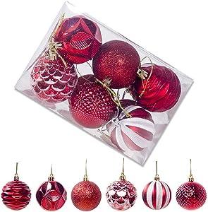 KOERIM 12pcs Christmas Balls Ornaments Set for Xmas Tree - Shatterproof Christmas Tree Decorations Hanging Ball - Green/Silver/Gold/Red/Blue/Pink - 55mm