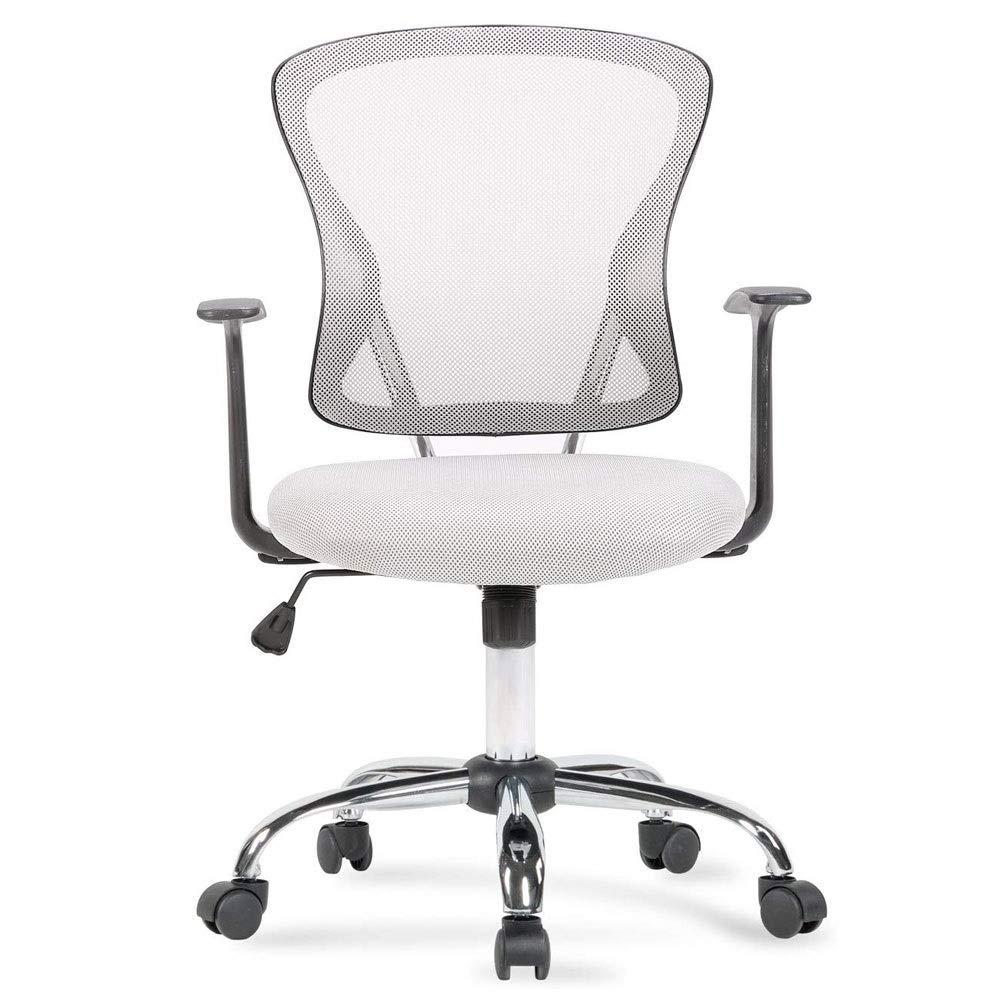 "ZSJ Modern Computer Chair Ergonomic Back Mesh Rotating Desk Task Ergonomic Chair Gray Cushion Nylon Fabric Adjustable Studio Home Decoration Study Living Room Bedroom 34-3/4"" -38-3/4"""