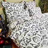 Black and White Toile Duvet Cover, Fetish al Fresco Print Cotton Bedding (King)