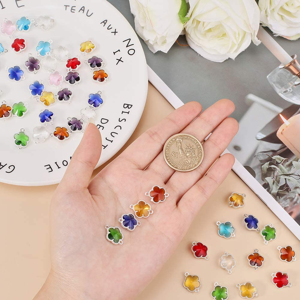 PandaHall colores variados 50 conectores de flores para hacer collares y pulseras