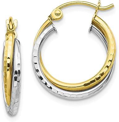 30 mm Twisted Hoop Earrings in 10K Two-Tone Gold