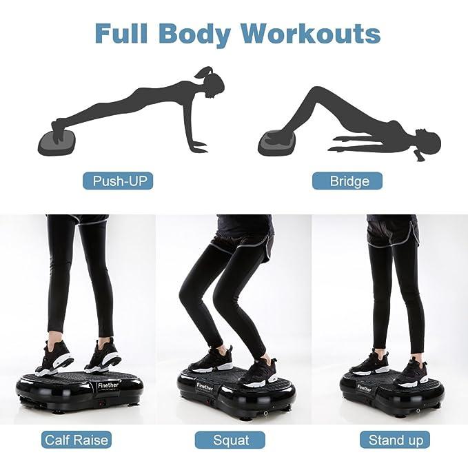 Finether-Vibroshaper Plataforma Vibratoria Tonificador Muscular Máquina de Ejercicio para Todo el Cuerpo (3 Áreas de Vibración, 2 Bandas de ...