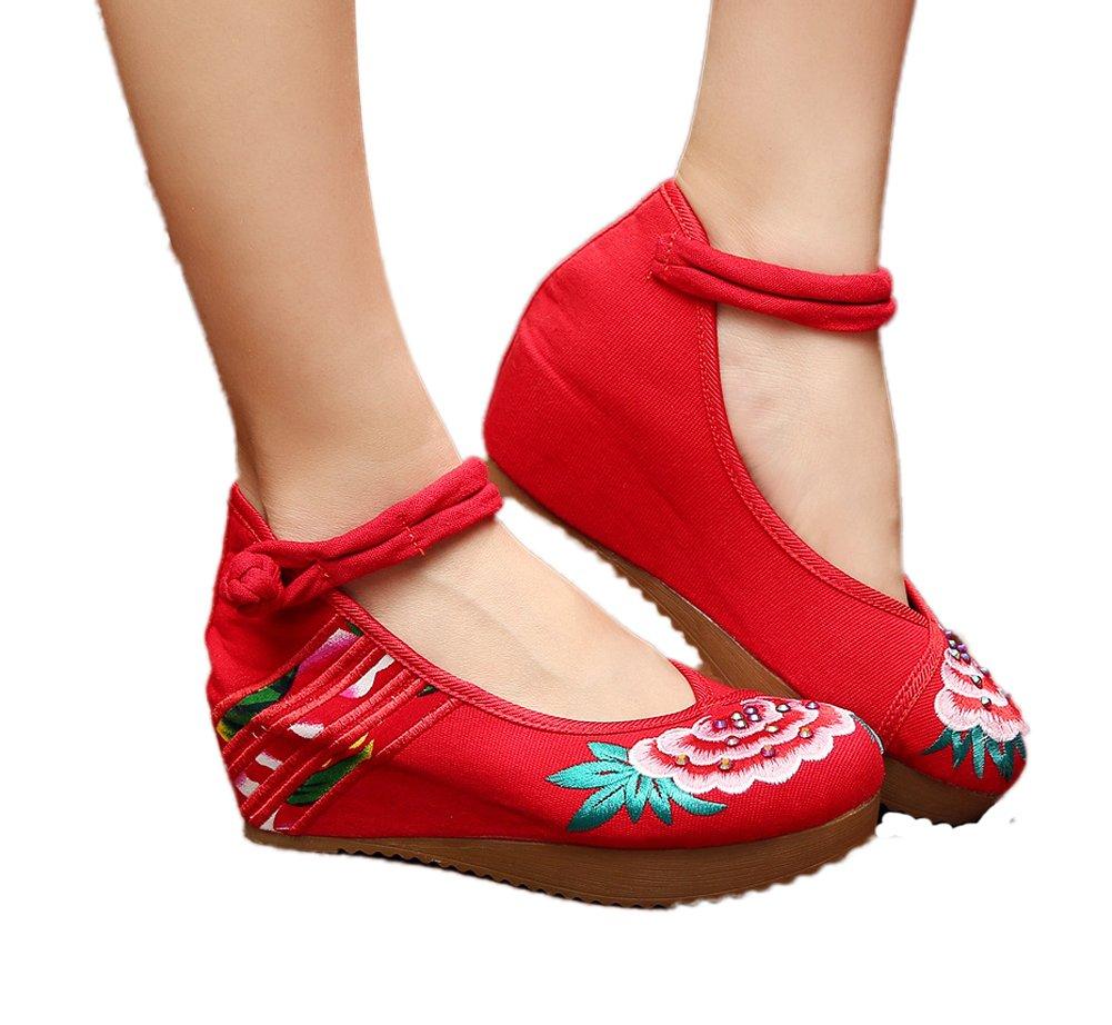 AvaCostume Womens Embroidery Cheongsam Casual Platform Wedges Qipao Red 40