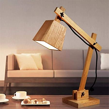 AJJ La Moda de Madera Madera Creativa Iluminación lámpara de Mesa ...