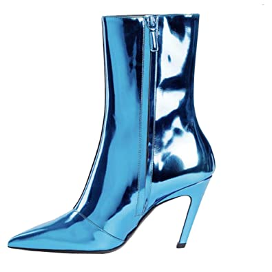 c0e923ee96cd Themost Boots Stiletto Ankle Boot Pointed Toe Leather Shoes Side Zipper  Ankle Heels Booties Blue