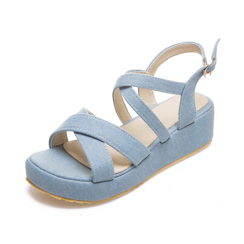 QIN&X Décontracté Femmes Femmes Blue Talon Peep Toe Sandales Light Light Blue d6ab0b6 - conorscully.space