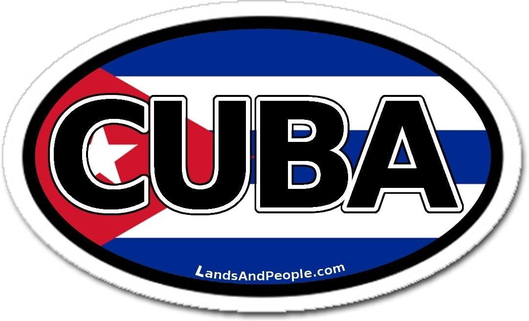 LandsAndPeople Cuba and Cuban Flag Car Bumper Sticker Decal Oval