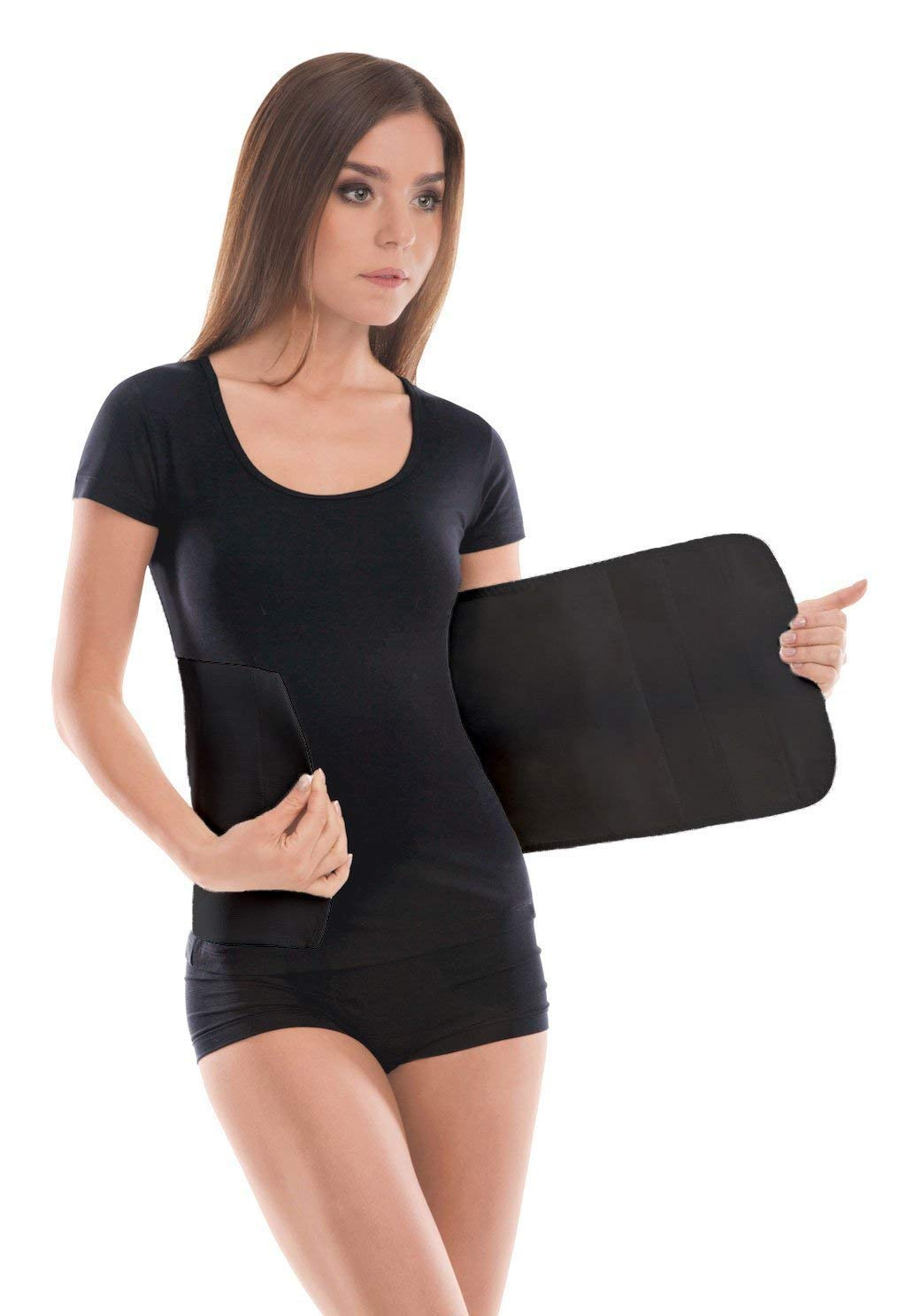 TOROS-Group Elastic 24 cm Abdominal Binder/Postpartum & Post Operative Belly Wrap -Medium Black