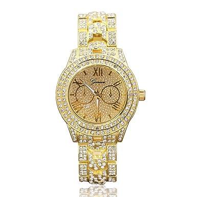 Darringls_Reloj GD076 Geneva,Relojes estudiantiles Reloj análogo de muñeca de Acero Inoxidable Deportivo para Hombre Reloj de Pulsera de Cuarzo: Amazon.es: ...