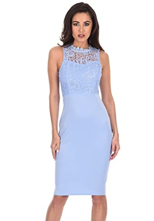 AX Paris Womens Crochet Bodycon Dress(Light Blue, ...