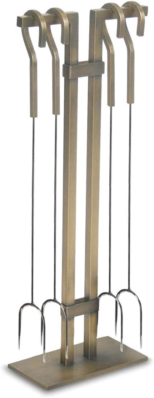Pilgrim Home and Hearth Sinclair Roasting Fork Set, Stainless Steel and Burnished Brass