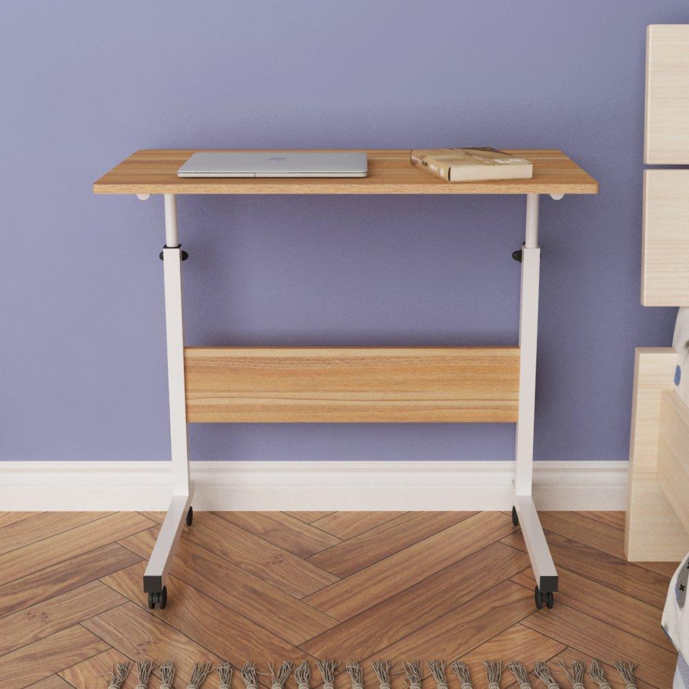 DlandHome 31.4'' Large Size Mobile Side Table, Adjustable Movable w/wheels, Portable Laptop Stand for Bed Sofa, 05#1-80O Oak, 1 Pack by DlandHome (Image #7)