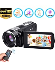 Video Camera Camcorder [2019 Upgrade], Weton Digital Camera Camcorder with IR Night Vision 18X Digital Zoom 24.0Mega Pixels Camcorders 1080P Full HD Video Camera Recorder (Two Batteries Included)