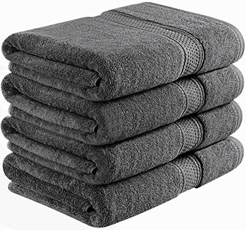 Utopia Towels 700 GSM Premium Bath Towels - 4 Pack Towel Set - (27x54 Bath Towels) - 100% Ring-Spun Cotton Towels for Home, Hotel and Spa (Grey)