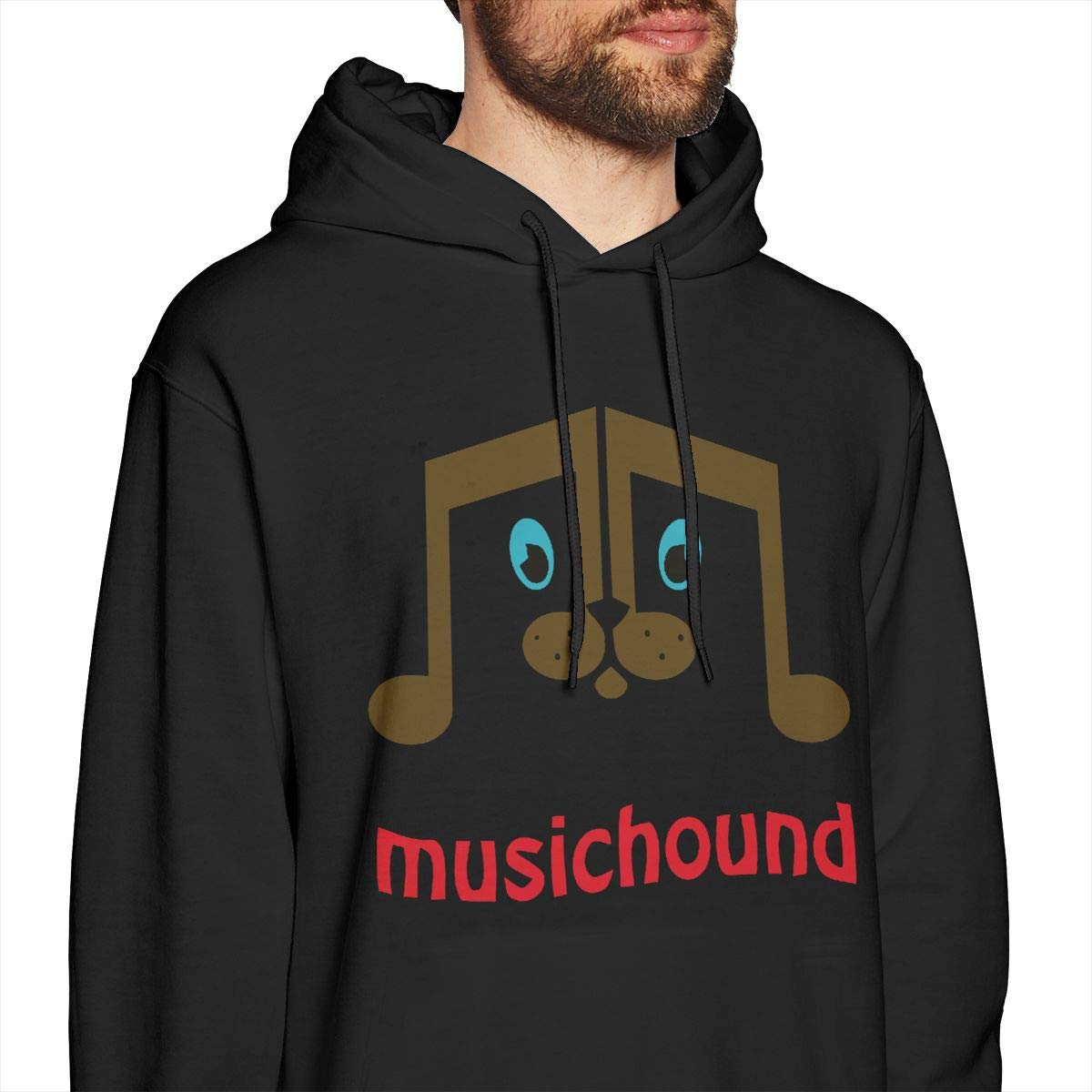 Casual and Delicate Tide Brand Music Hound Alphabet Pattern Winter Plus Cotton Black Mens Hooded Sweatshirt Light and Soft