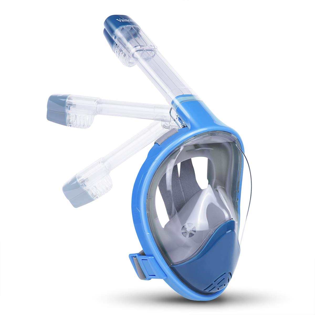 Vaincre 180° Full Face Snorkel Mask with Panoramic View Anti-Fog,Anti-Leak with Adjustable Head Straps-See Larger Viewing Area Than Traditional Masks (Foldable Panoramic Blue, Small/Medium)