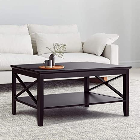 Amazon Com Choochoo X Design Coffee Table With Storage Shelf Accent Furniture For Living Room Espresso Kitchen Dining
