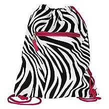 World Traveler 15 Inch Drawstring Backpack Bag, Pink Trim Zebra, One Size