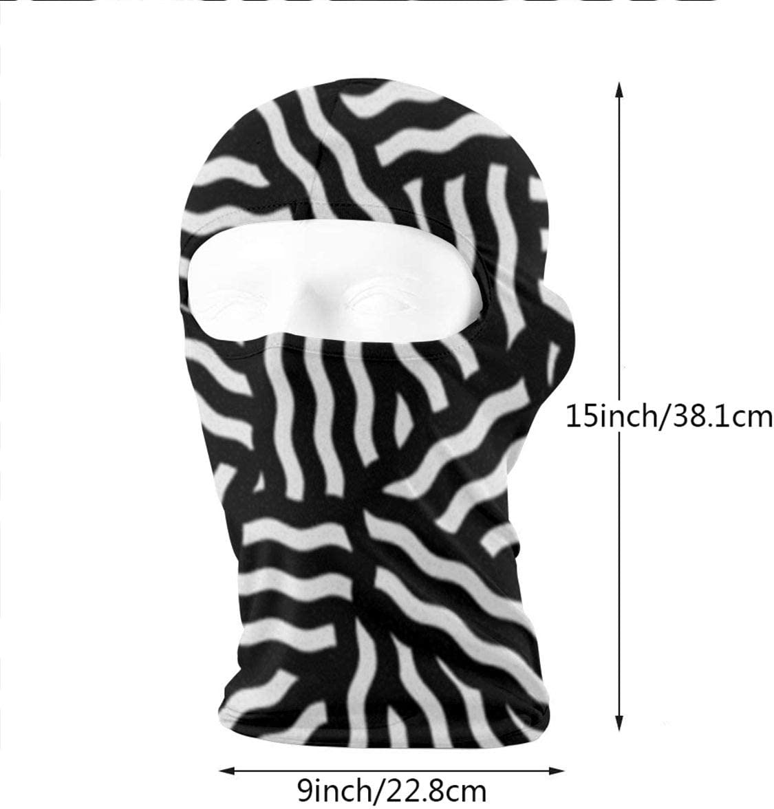 CAClifestyle Black and White Wave Stripes Unisex Windproof Balaclavas Full Face Mask Hood