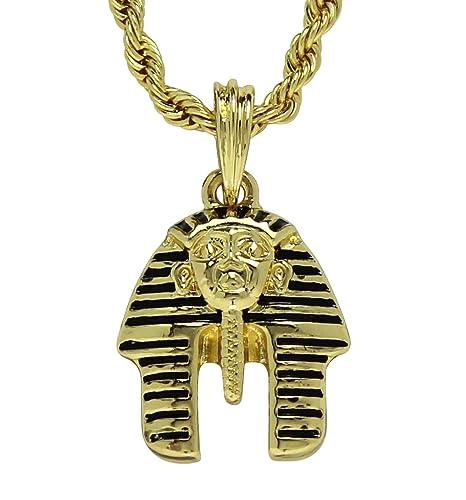 Mini Pharaoh Head Pendant 14k Gold Plated w/ 24