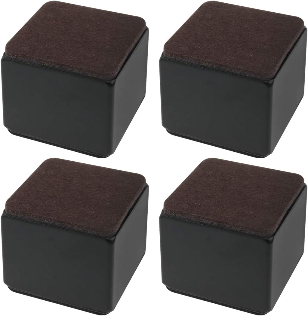 Semetall 4 Pack 2.36x2.36x2 Inch Heavy Duty Solid Furniture Risers,Square Riser for Heavy Table, Chair, Desk,Sofa,Beds Self,Supports 3000 lbs (Black)