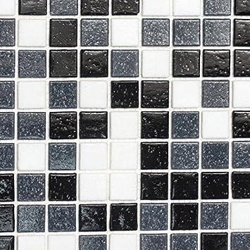 Mosaik Fliese Glas Weiss Grau Schwarz Fur Boden Wand Bad Wc Dusche