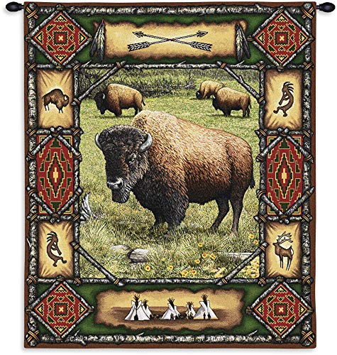 Pure Country Weavers Buffalo Lodge | Woven Tapestry Wall Art Hanging | Rustic Wildlife Bison Theme | 100% Cotton USA Size 34x26