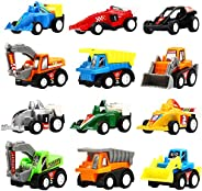 Yeonha Toys Pull Back Vehicles, 12 Pack Mini Assorted Construction Vehicles & Race Car Toy, Vehicles Truck