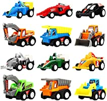 Yeonha Toys Pull Back Vehicles, 12 Pack Mini Assorted Construction Vehicles & Race Car Toy, Vehicles Truck Mini Car Toy...
