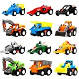 Pull Back Vehicles,12 Pack Assorted Construction Vehicles and Raced Car Toy,Yeonhatoys Die Cast