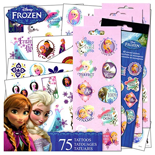 (Disney Frozen Tattoos Stickers Set - 75 Assorted Frozen Temporary Tattoos With Party Reward Stickers For)
