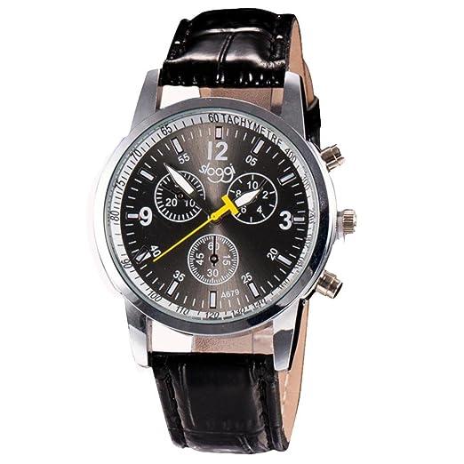 ashop Reloj Sport reloj elegante reloj relojes de pulsera analógicos de hombre de moda de Lusso Negro: Amazon.es: Relojes