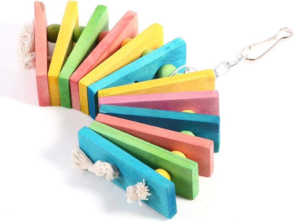 Juguete para Masticar Loros Coloridos para pájaros de Madera para Mascotas, Loros Flexibles Jaula Decoraciones artesanales Colgando Cockatiel perico Columpio Jaula Jugando Juguetes Nuevo
