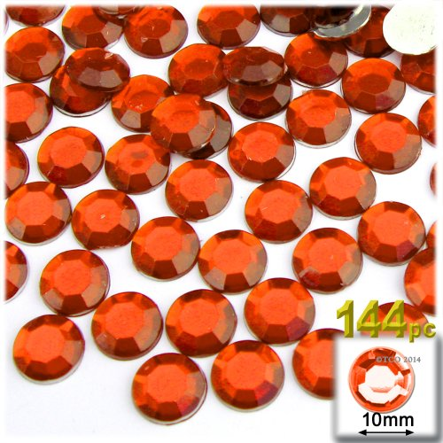 The Crafts Outlet 144-Piece Flat Back Round Rhinestones, 10mm, Orange ()