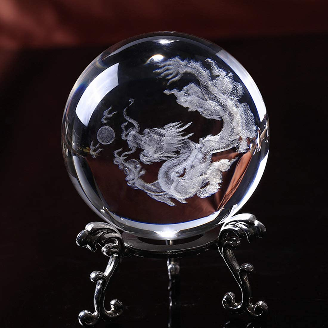 HDCRYSTALGIFTS Crystal 2.4 inch (60mm) Chinese Dragon Crystal Ball with Sliver-Plated Flowering Stand,Fengshui Glass Loong Ball Home Decoration